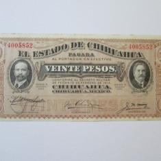 Mexic 20 Pesos 1915 Estado de Chihuahua - bancnota america