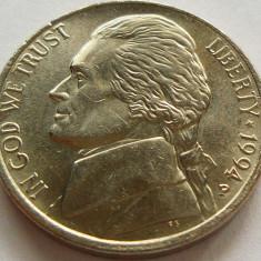 Moneda 5 Centi - SUA, anul 1994 *cod 4321 Litera P, America de Nord