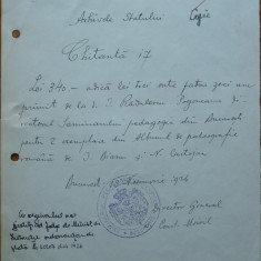 Arhivele Statului, 1926, document semnat de Constantin Moisil - Autograf