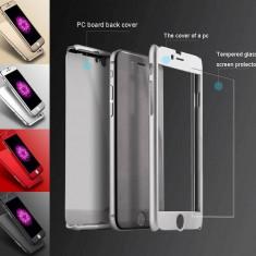 Husa fata-spate pentru iPhone 6/6s SILVER + Folie de sticla gratis ! - Husa Telefon Apple, Argintiu, Plastic, Carcasa