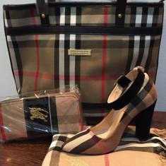Set geanta+portofel+eșarfa+pantofi Burberry - Geanta Dama Burberry, Culoare: Bej, Marime: Medie