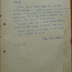 Pagina manuscris Petru Comarnescu, 1957 - Autograf
