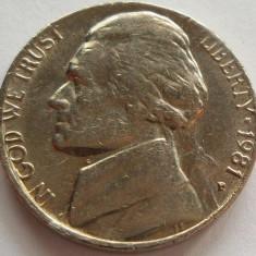 Moneda 5 Centi - SUA, anul 1981 *cod 4314 Litera P, America de Nord