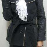 Palton scurt din stofa combinata cu piele ecologica, nuanta neagra (Culoare: NEGRU, Marime: XXL-44) - Palton dama