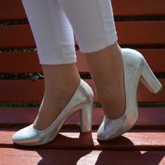Pantof de ocazie din piele naturala de culoare argintiu lucios (Culoare: ARGINTIU, Marime: 40) - Pantof dama