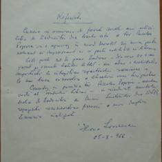 Manuscris Horia Lovinescu, 1966, o pagina - Autograf