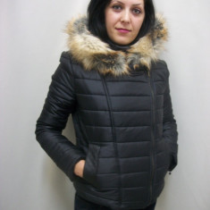 Jacheta de primavara, toamna, neagra, cu gluga detasabila (Culoare: NEGRU, Marime: M-38) - Jacheta dama