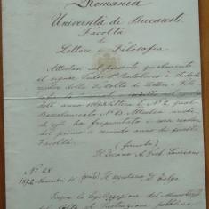 Facultatea de Litere si Filozofie Bucuresti, 1872, semnata Treboniu Laurian - Autograf