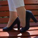 Pantof trendy cu design de patratele, nuanta bleumarin lucios-mat (Culoare: BLEUMARIN, Marime: 40) - Pantof dama