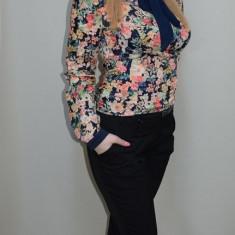 Pantalon elegant, cu talie inalta, design cambrat, nuanta neagra (Marime: 38) - Pantaloni dama