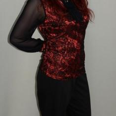 Pantalon rafinat, negru, talie inalta si fara buzunare (Culoare: NEGRU, Marime: 52) - Pantaloni dama