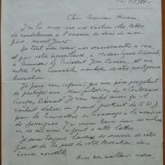 Scrisoare Dadi Iancu, fiica lui Marcel Iancu, la decesul acestuia, Ein Hod - Autograf