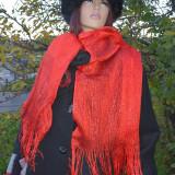 Esarfa casual cu design simplist, de culoare rosie cu aspect lucios (Culoare: ROSU) - Esarfa, Sal Dama