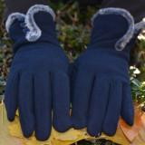 Manusi Touchscreen de iarna cu blanita, in nuanta de bleumarin (Culoare: BLEUMARIN, Marime: UNIVERSAL)