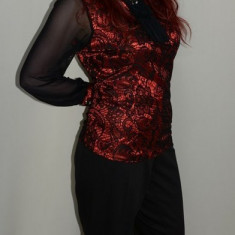 Pantalon rafinat, negru, talie inalta si fara buzunare (Culoare: NEGRU, Marime: 50) - Pantaloni dama