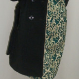 Palton negru si lung, maneci din piele ecologica matlasata (Culoare: NEGRU, Marime: XXXL-46) - Palton dama