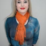 Esarfa rafinata, nuanta de portocaliu, franjuri chic aplicati (Culoare: PORTOCALIU) - Esarfa, Sal Dama