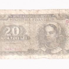 BANCNOTA ROMANIA - -20 LEI - EMISA LA 15 IUNIE 1950 - Bancnota romaneasca