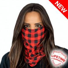 Bandana/Face Shield/Cagula/Esarfa - Lumberjack Red Plaid, made in USA, Marime: Masura unica, Culoare: Din imagine