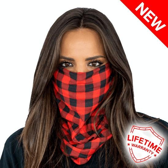 Bandana/Face Shield/Cagula/Esarfa - Lumberjack Red Plaid, made in USA