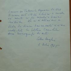 Pagina manuscris Cella Serghi, 1965 - Autograf