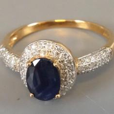 Inel anturaj din aur cu 66 diamante si safir - Inel diamant, Carataj aur: 9K, Culoare: Galben, 57 - 67