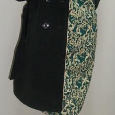 Palton negru si lung, maneci din piele ecologica matlasata (Culoare: NEGRU, Marime: XXL-44) - Palton dama