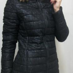 Jacheta neagra, din fas, cu design de dantela aplicata deasupra (Culoare: NEGRU, Marime: Xl-42) - Jacheta dama