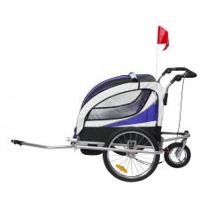 Remorca de bicicleta pentru transportat copiii Qaba - albastru + ab + negru