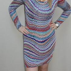 Rochie cu design dungat, nuanta de bleumarin, maneci lungi (Culoare: BLEUMARIN, Marime: 38) - Rochie de zi, Din imagine, Lunga, Vascoza
