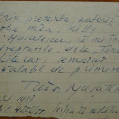Pagina scrisa olograf de Tudor Musatescu, 1957 - Autograf