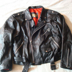 Geaca piele, barbati, model clasic de motor/moto/rock/rocker/biker - Geaca barbati, Marime: L, Culoare: Negru