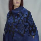 Esarfa fashion din matase-bumbac, cu model de nuanta bleumarin (Culoare: BLEUMARIN) - Esarfa, Sal Dama