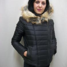 Jacheta de primavara, toamna, neagra, cu gluga detasabila (Culoare: NEGRU, Marime: S-36) - Jacheta dama