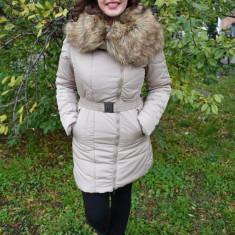 Jacheta bej, calduroasa de iarna, cu guler mare cu blana detasabila (Culoare: BEJ, Marime: L-40) - Jacheta dama