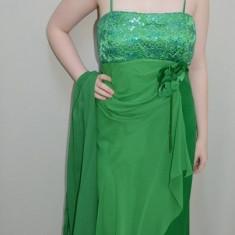 Rochie de seara lunga, de nuanta verde, design modern, din saten si voal (Culoare: VERDE, Marime: 46), Maxi, Cu bretele, Satin