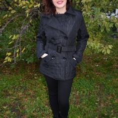 Jacheta casual, culoare neagra, cu guler dublu si model matlasat (Culoare: NEGRU, Marime: 42) - Jacheta dama