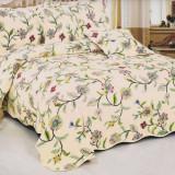 Cuvertura de pat matlasata din bumbac brodat + fete perna ES07 - Cuvertura pat