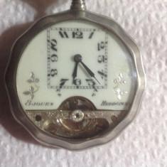 ceas de buzunar HEBDOMAS tragere la 8 zile argint