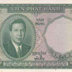 Bancnota Indochina 5 Piastri (1953) - P106 aUNC (emisiunea pentru Vietnam) - bancnota asia