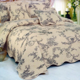 Cuvertura de pat matlasata din bumbac brodat + fete perna ES09 - Cuvertura pat
