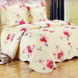 Cuvertura de pat matlasata din bumbac brodat + fete perna ES14 - Cuvertura pat