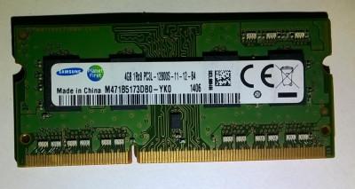 Ram laptop Samsung 4GB PC3-12800 DDR3 1600Mhz M471B5173DB0 PC3L Low 1.35V Sodimm foto