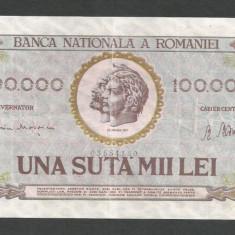 ROMANIA 100000 100.000 LEI 25 ianuarie 1947 [4] BNR vertical - Bancnota romaneasca