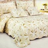 Cuvertura de pat matlasata din bumbac brodat + fete perna ES05 - Cuvertura pat