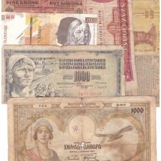 Lot 7 bancnote straine vechi, uzate si foarte uzate