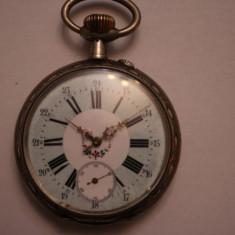 CEAS DE BUZUNAR DIN ARGINT, DE COLECTIE, SWISS MADE-TEMATICA LOCOMOTIVE-D=6, 5 CM. - Ceas de buzunar vechi
