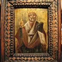 Icoana sec 19 Sfantul Nicolae pictata pe lemn si inramata 20x24 cm - Icoana pe lemn