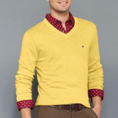 Bluza TOMMY HILFIGER - Pulover, Bluze Barbati - 100% AUTENTIC - Bluza barbati Tommy Hilfiger, Marime: M, Culoare: Galben, Bumbac