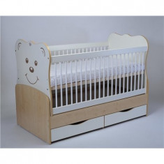 Patut Transformabil Teddy Natur-Alb Cu Leg 3609 - Patut lemn pentru bebelusi MyKids, 140x70cm, Maro
